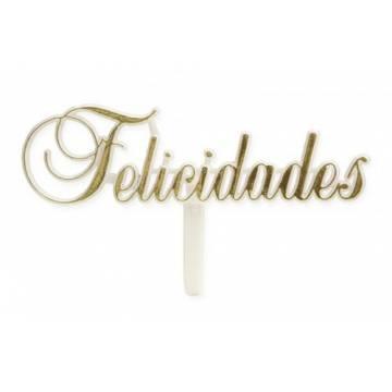 "LETRERO PLASTICO ""FELICIDADES"" (BOLSA 24 UNDS)"