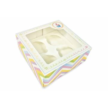 "Caja Cupcake Box Rosa ""4"" + Soporte Carton (Und)"