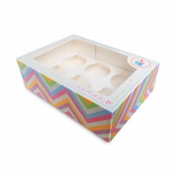 "Caja Cupcake Box Rosa ""6"" +..."